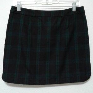 Gap Factory navy green tartan plaid mini skirt